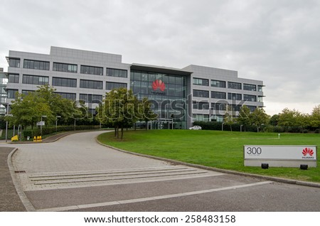 READING, UK - SEPTEMBER 14, 2014:  Modern offices of the Chinese technology company Huawei in the Green Park district of Reading, Berkshire. - stock photo