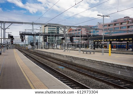 Reading, UK. 1st April 2017. Reading station on the Great Western mainline is one of the country's busiest interchange stations outside of London. The line is being electrified from London to Wales.