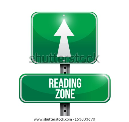 reading zone road sign illustration design over a white background - stock photo