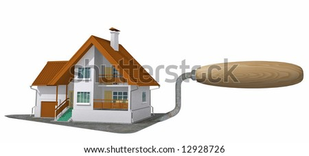 Ready apartment house on bricklayer's trowel. Image with clipping path.