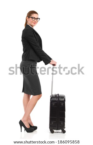 Ready for business trip. Elegance woman with black suitcase. Full length studio shot isolated on white. - stock photo