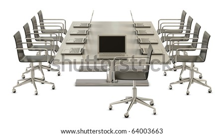 Ready for meeting, table with chairs and laptops isolated on white background