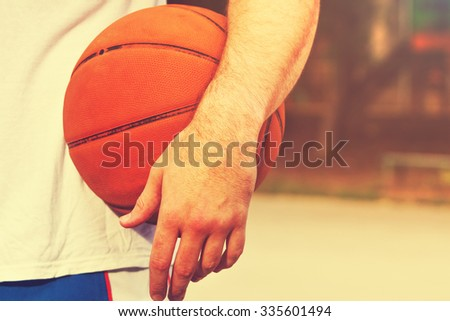Ready for some basketball outdoors. - stock photo