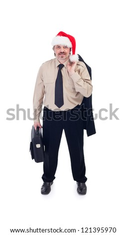 Ready for the Christmas party - businessman with santa hat, isolated - stock photo