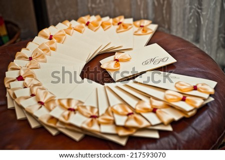 Ready invitations to wedding before sending on addressees. - stock photo