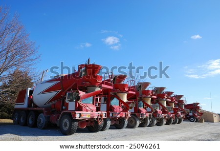 ready mix concrete trucks - stock photo