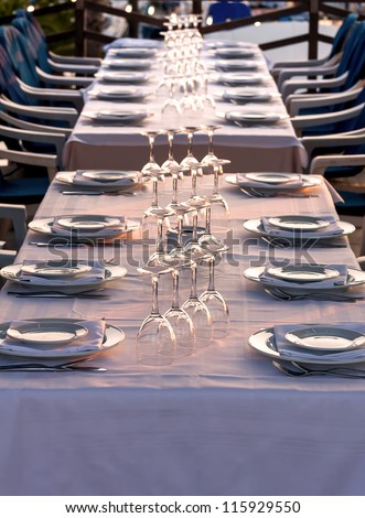 Ready table in the restaurant for the guests - stock photo