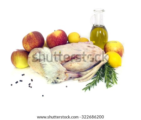 Ready to cook duck  with apples - stock photo