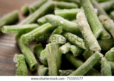 Ready to cook frozen haricots - stock photo