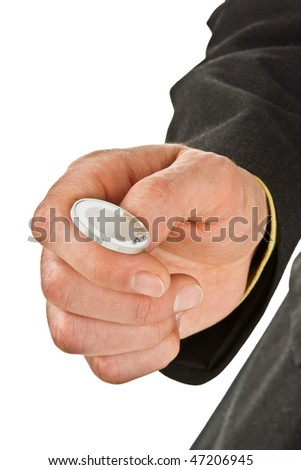 Ready to flip silver coin: heads or tails? - stock photo