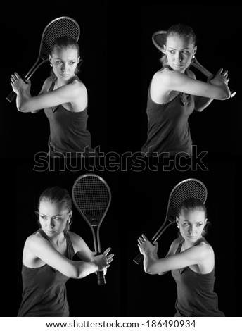Ready to hit! Female tennis player with racket ready to hit a tennis ball. Set on black. - stock photo