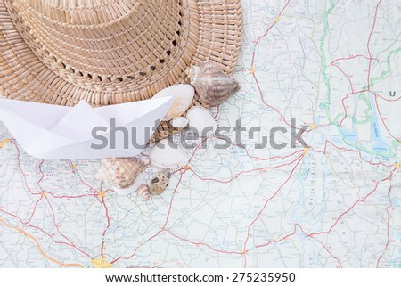 ready to travel, map, hat, booth - stock photo