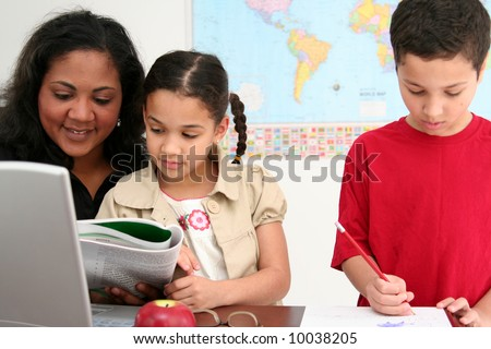 Ready to work in a classroom at school - stock photo