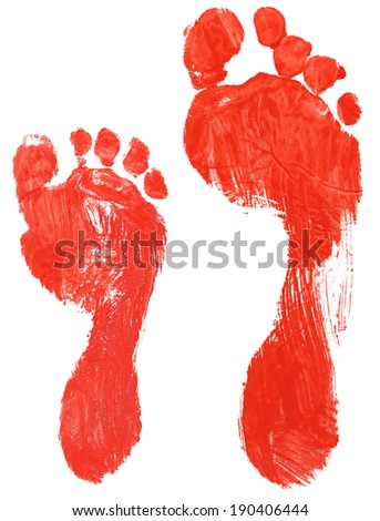 Real adult and child footprints isolated on pure white background, great details in 100 % view - stock photo