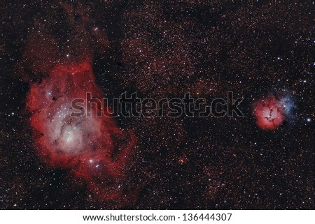 Real astronomic picture taken using telescope of a region inside of Sagittarius constellation