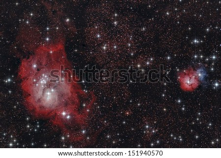 Real astronomic picture taken using telescope of a region inside of Sagittarius constellation - stock photo
