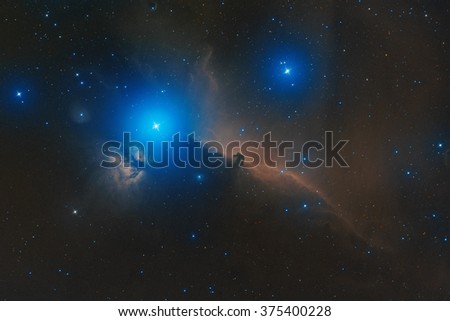 real astronomic picture taken using telescope of horsehead nebula, part of a large molecular cloud complex in orion constellation, approximately at 1500 light years from earth - stock photo