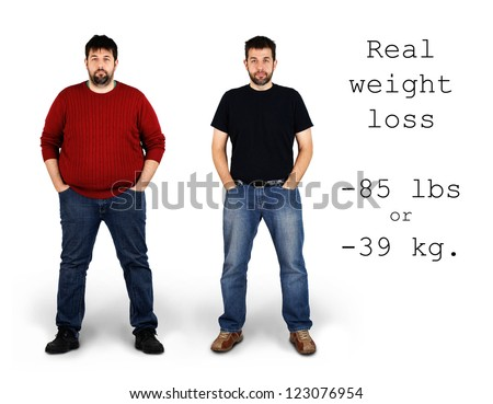 Real before and after shots of 85 pounds or 39 kilos weight loss by a tall middle aged bearded white man, great for health and fitness concept. - stock photo
