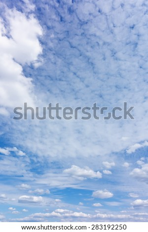 real blue sky with clouds - stock photo