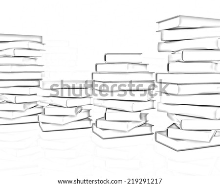 real books on a white background. Pencil drawing