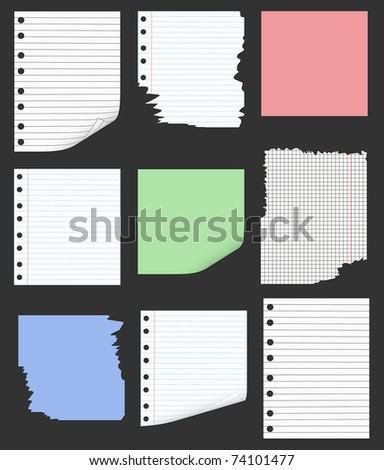 Real Cardboard And Paper Items isolated on black - stock photo