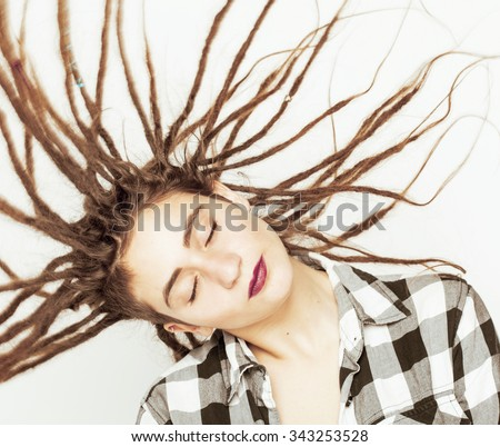 stock-photo-real-caucasian-woman-with-dreadlocks-hairstyle-funny ...