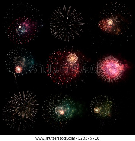 Real colorful fireworks with smoke selection on black background. - stock photo