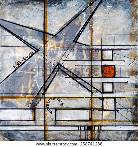 Real Contemporary and Abstract Square Painting on Canvas. - stock photo