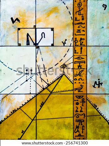Real Contemporary Painting on Canvas about Hieroglyphs and Pyramids. - stock photo