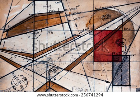 Real Contemporary Painting on Canvas with code, maths and gold number. - stock photo