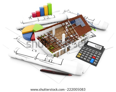 real estate accounting concept: house structure with graphics and calculator over architectural draws