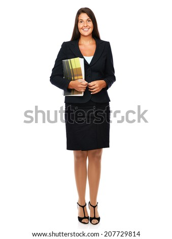 Real estate agent holding her documents full length.   Isolated on a white background.   - stock photo