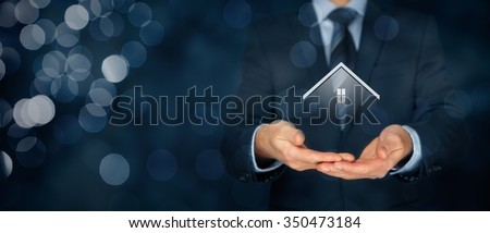 Real estate agent offer house. Property insurance and security concept. Wide banner composition with bokeh background.