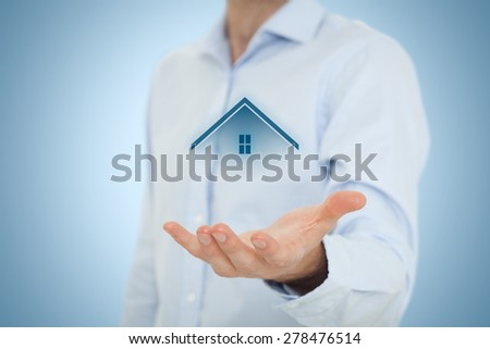 Real estate agent offer house. Property insurance, mortgage and real estate services concept. Central composition.