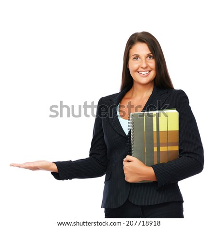Real estate agent showing empty space.   Isolated on a white background.  - stock photo