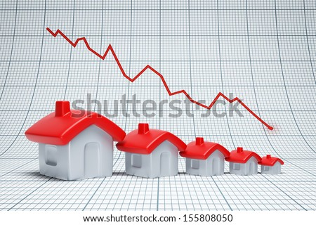 Real estate are falling. Negative chart - stock photo