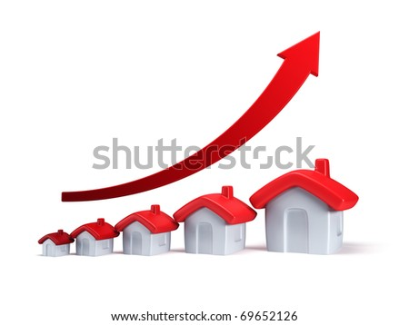 real estate are raising, isolated 3d render - stock photo