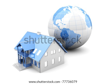 Real estate arround the World. 3D rendered Illustration. Isolated on white. - stock photo