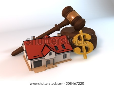 Real estate auction as 3 dimensions render model concept with dollar symbol on white background
