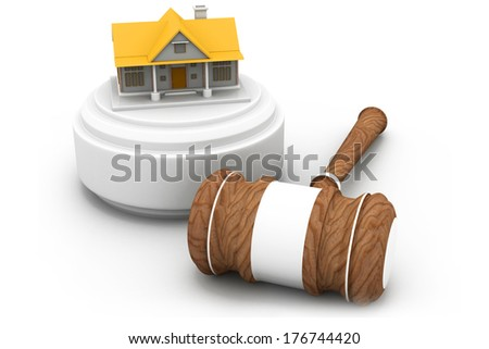 Real estate auction, house and gavel  - stock photo