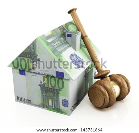 Real estate auction on the white background - stock photo