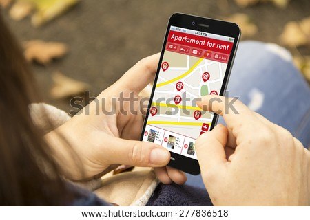 real estate business concept: girl looking for an apartment to rent on a 3d generated mobile phone - stock photo