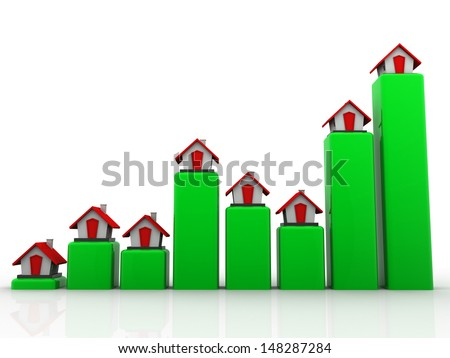 Real estate chart. Shows a rise in prices for real estate - stock photo
