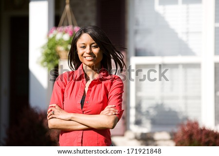 Real Estate: Cheerful Home Buyer - stock photo
