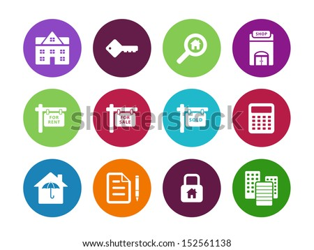 Real Estate circle icons on white background. See also vector version. - stock photo