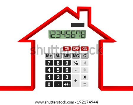 Real Estate Concept. Abstract house with calculator on a white background - stock photo