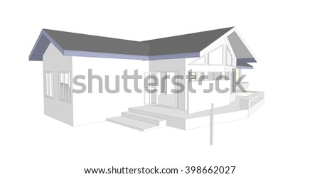 real estate concept blank sign new house 3D model computer isolated white background