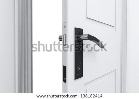 Real Estate Concept. Closeup open door with door handle - stock photo