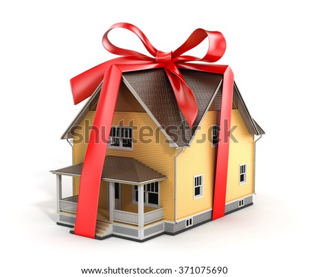 Real estate concept. House architectural model with red bow on a white background. Concept of gift. - stock photo