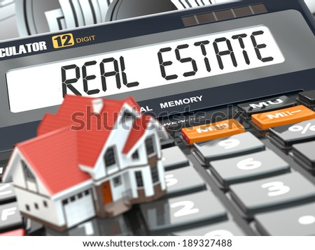 Real estate concept. House on calculator. Mortgage. 3d - stock photo